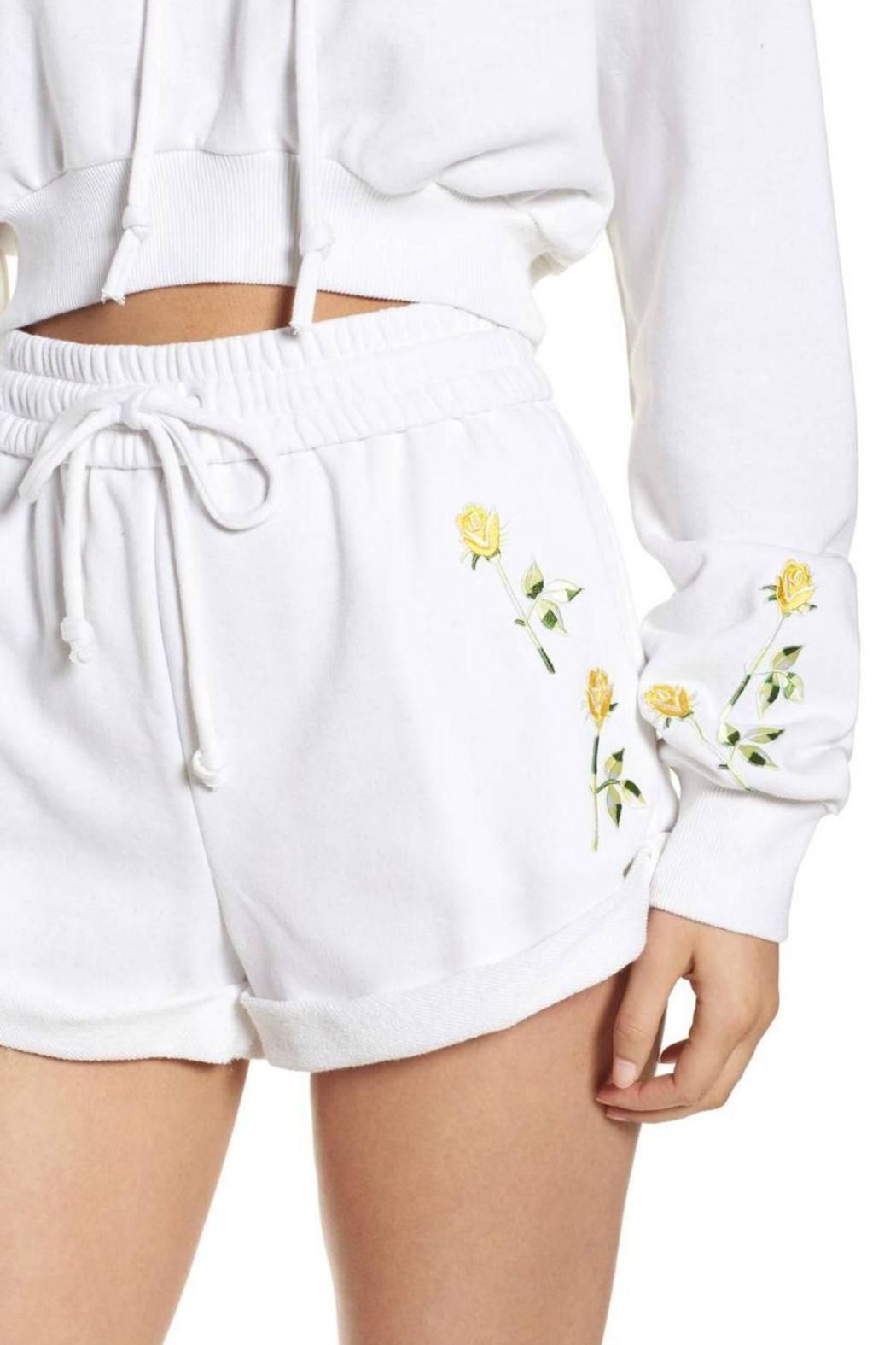 Kendall + Kylie Cropped Hoodie - Back Cropped Image