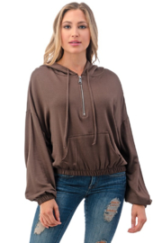 Ariella Cropped Hoodie with Pockets - Product Mini Image