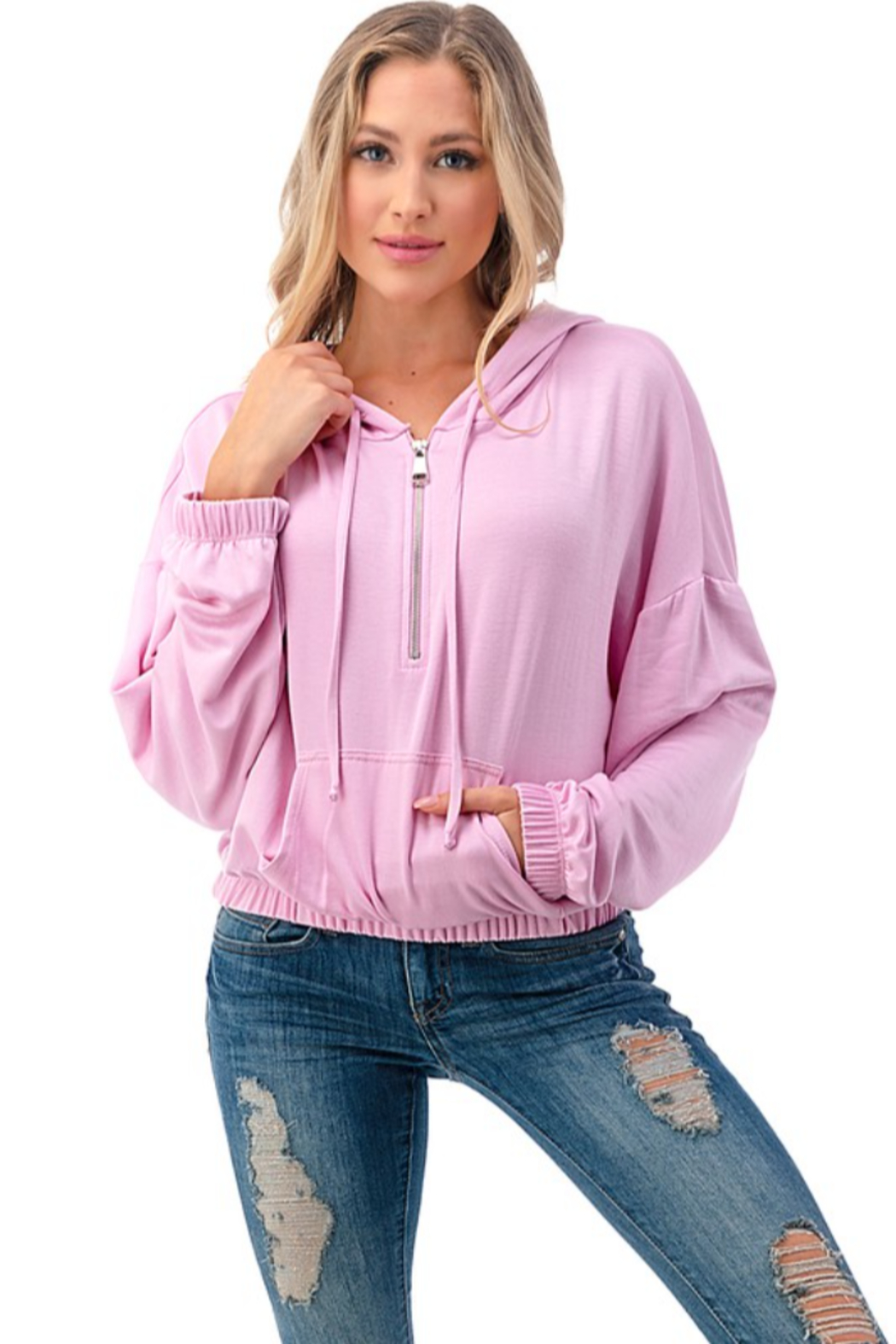 Ariella Cropped Hoodie with Pockets - Main Image