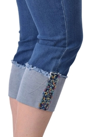 Ethyl Garden Grove Cropped jean with multi-colored embellishment on hem. - Front full body