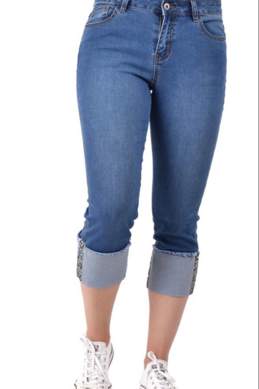 Ethyl Garden Grove Cropped jean with multi-colored embellishment on hem. - Main Image