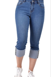 Ethyl Garden Grove Cropped jean with multi-colored embellishment on hem. - Product Mini Image