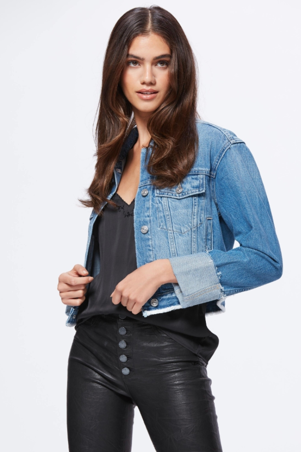 Paige Denim Cropped Jojo Jacket - Front Full Image