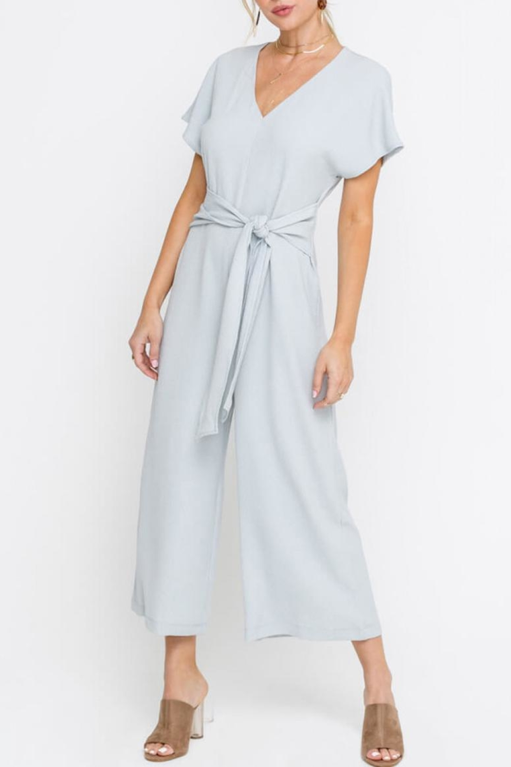 Lush Cropped Jumpsuit, Gray - Main Image