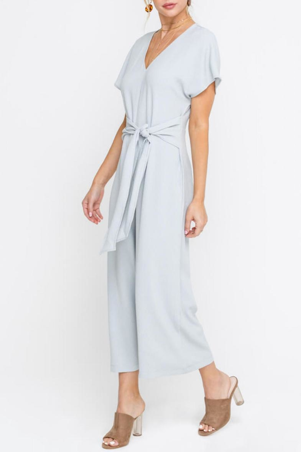 Lush Cropped Jumpsuit, Gray - Front Full Image