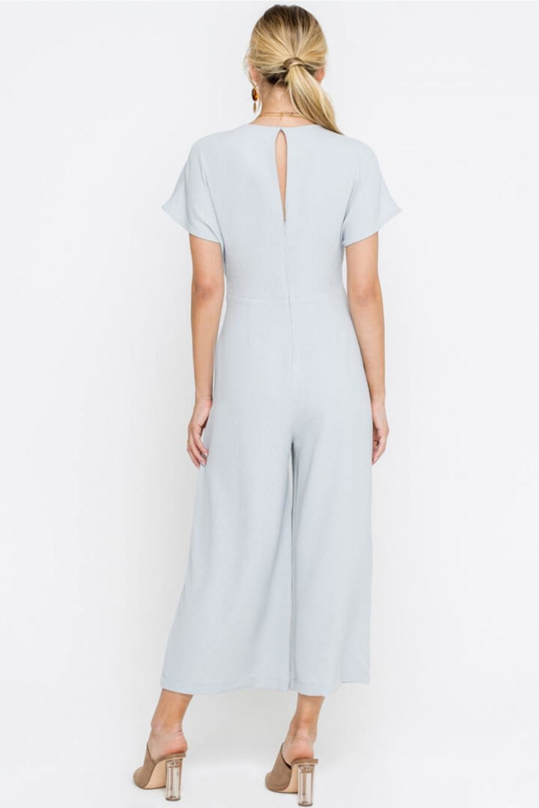 Lush Cropped Jumpsuit, Gray - Back Cropped Image