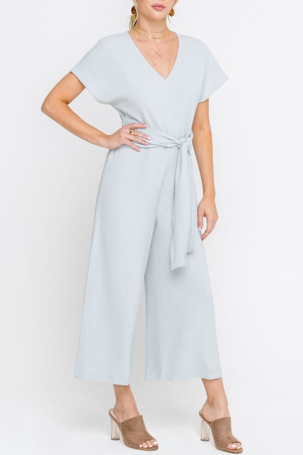 Lush Cropped Jumpsuit, Gray - Side Cropped Image
