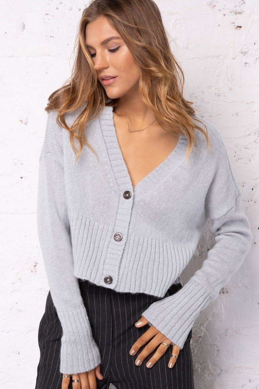 Wooden Ships Cropped Knit Cardigan - Side Cropped Image