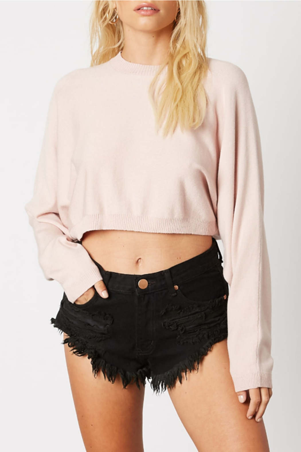 Cotton Candy Cropped Knit Sweater - Main Image