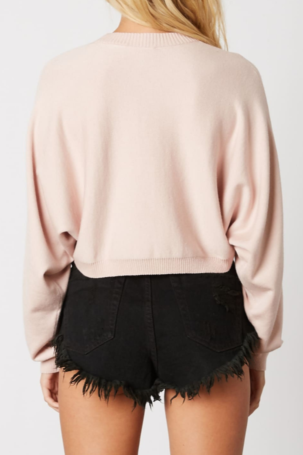 Cotton Candy Cropped Knit Sweater - Front Full Image