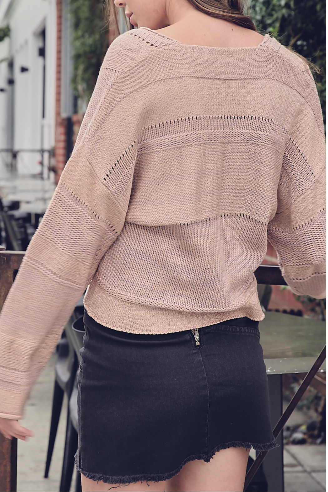Mustardseed CROPPED KNIT SWEATER - Front Full Image