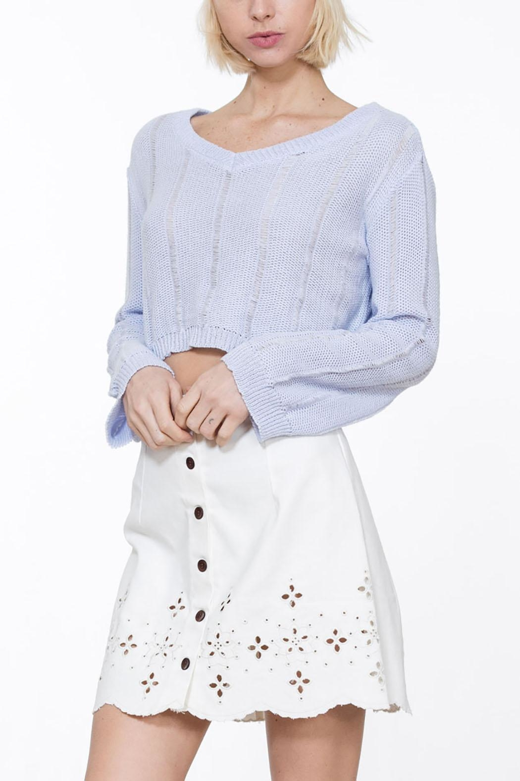 En Creme Cropped Knit Sweater - Front Full Image