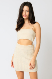 Olivaceous  Cropped Knit Tank - Product Mini Image