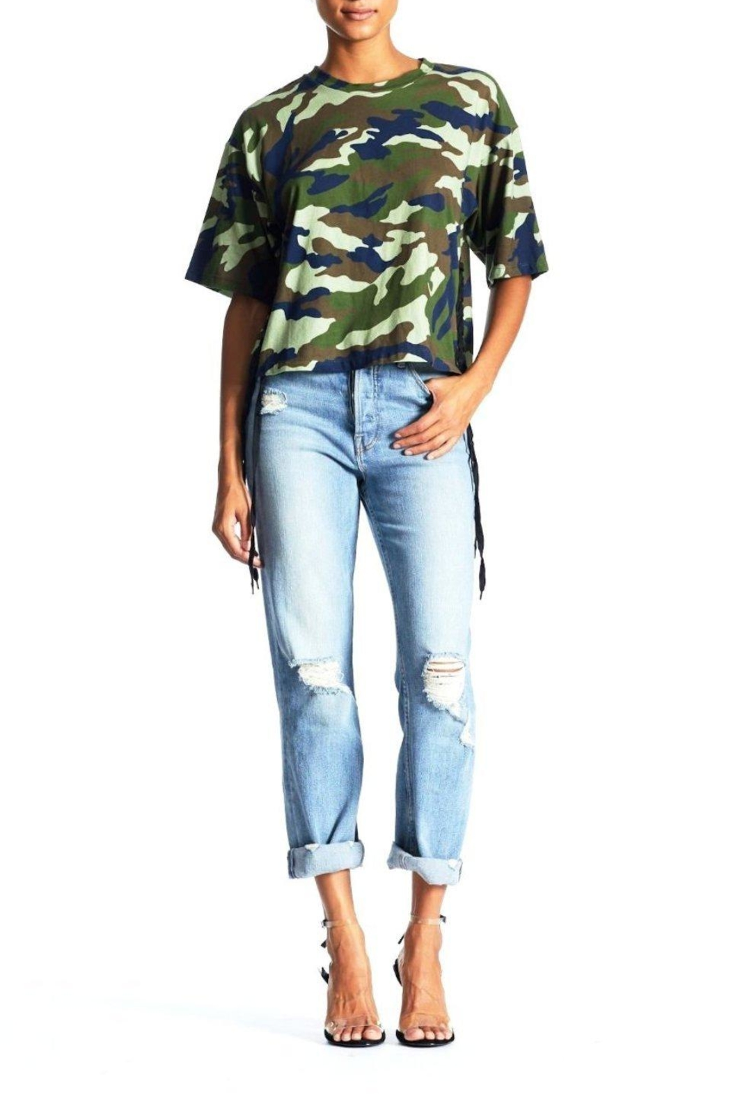 Kendall + Kylie Cropped Lace-Up Tee - Front Cropped Image