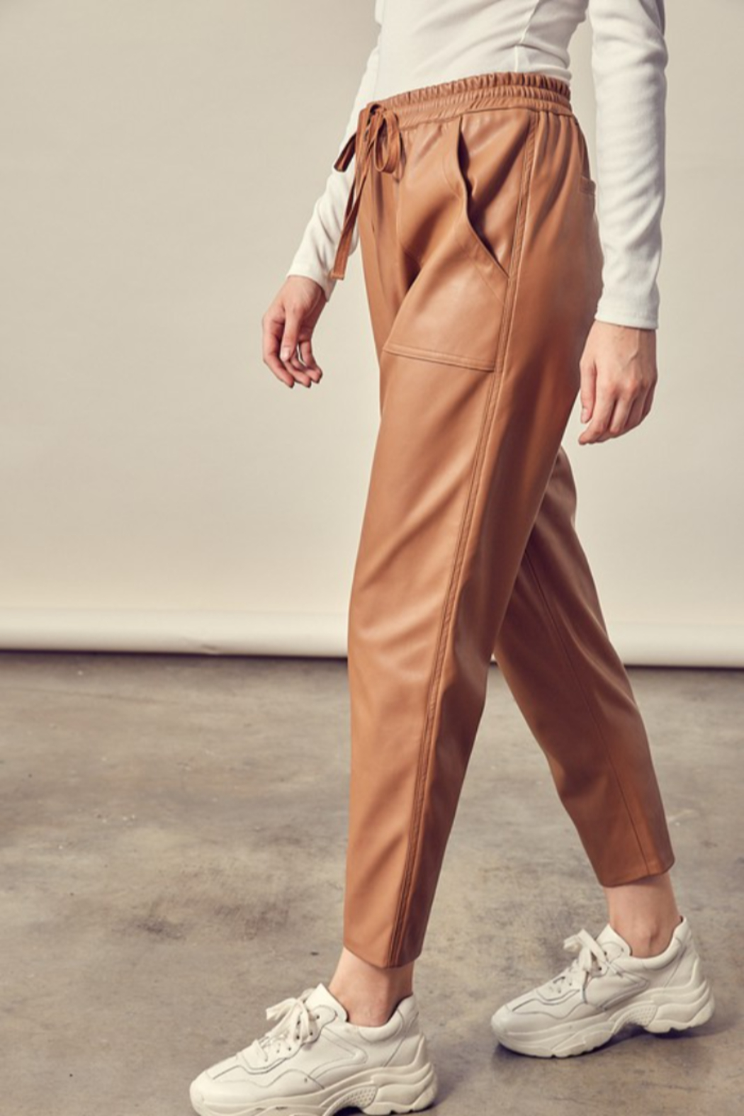 Mustard Seed Cropped Leather Pants - Front Full Image