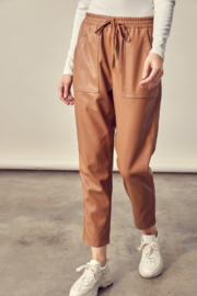 Mustard Seed Cropped Leather Pants - Front cropped