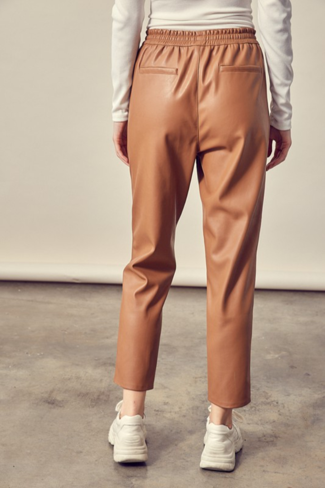 Mustard Seed Cropped Leather Pants - Side Cropped Image