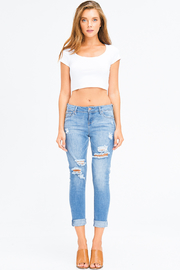 MONTREZ CROPPED LIGHT WASH DISTRESSED GIRLFRIEND JEANS - Product Mini Image