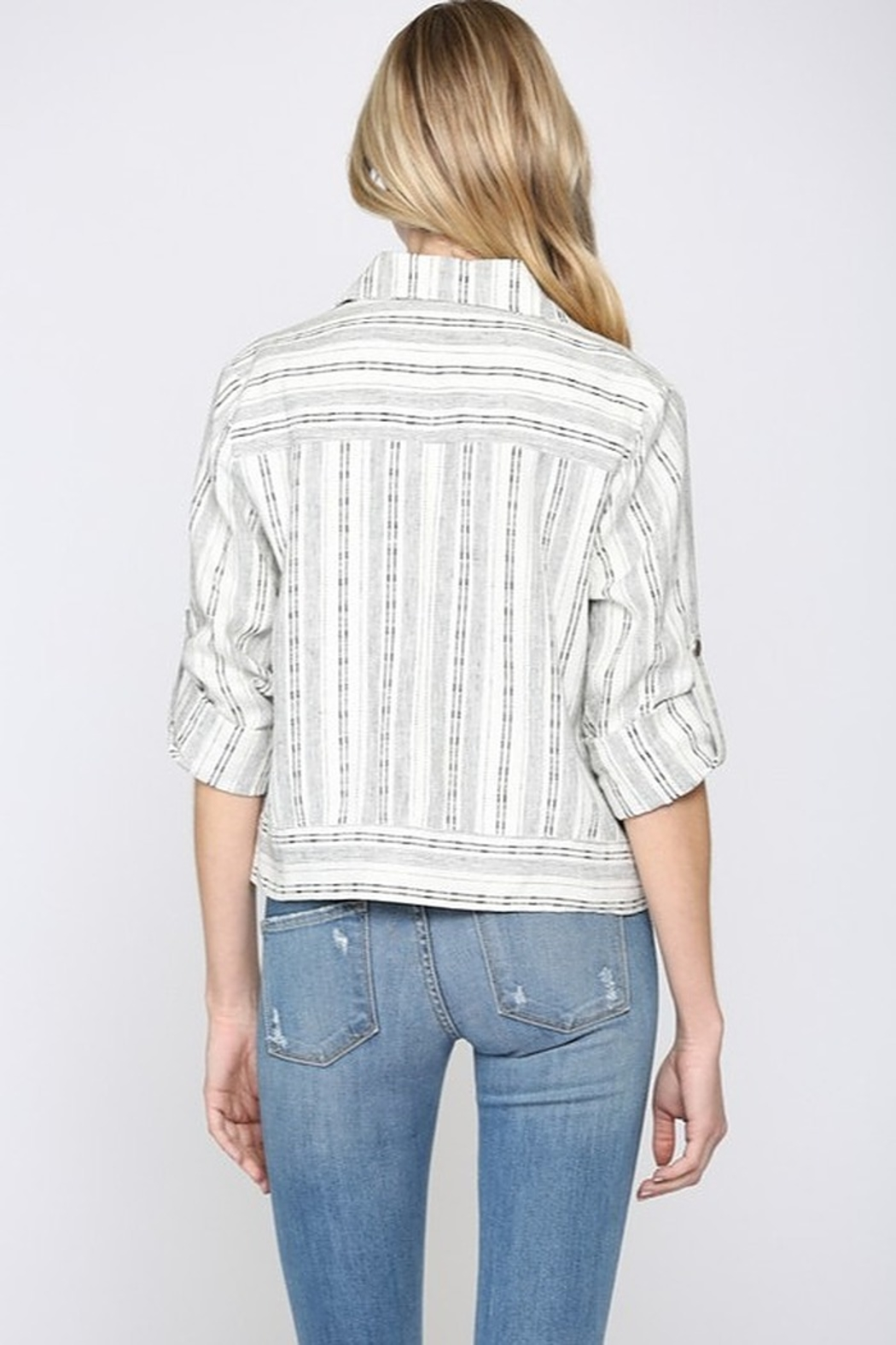 Fate Cropped Linen Jacket - Front Full Image