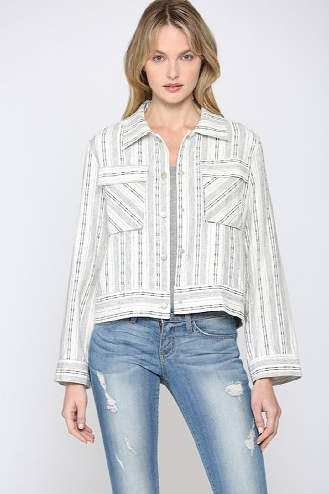 Fate Cropped Linen Jacket - Main Image