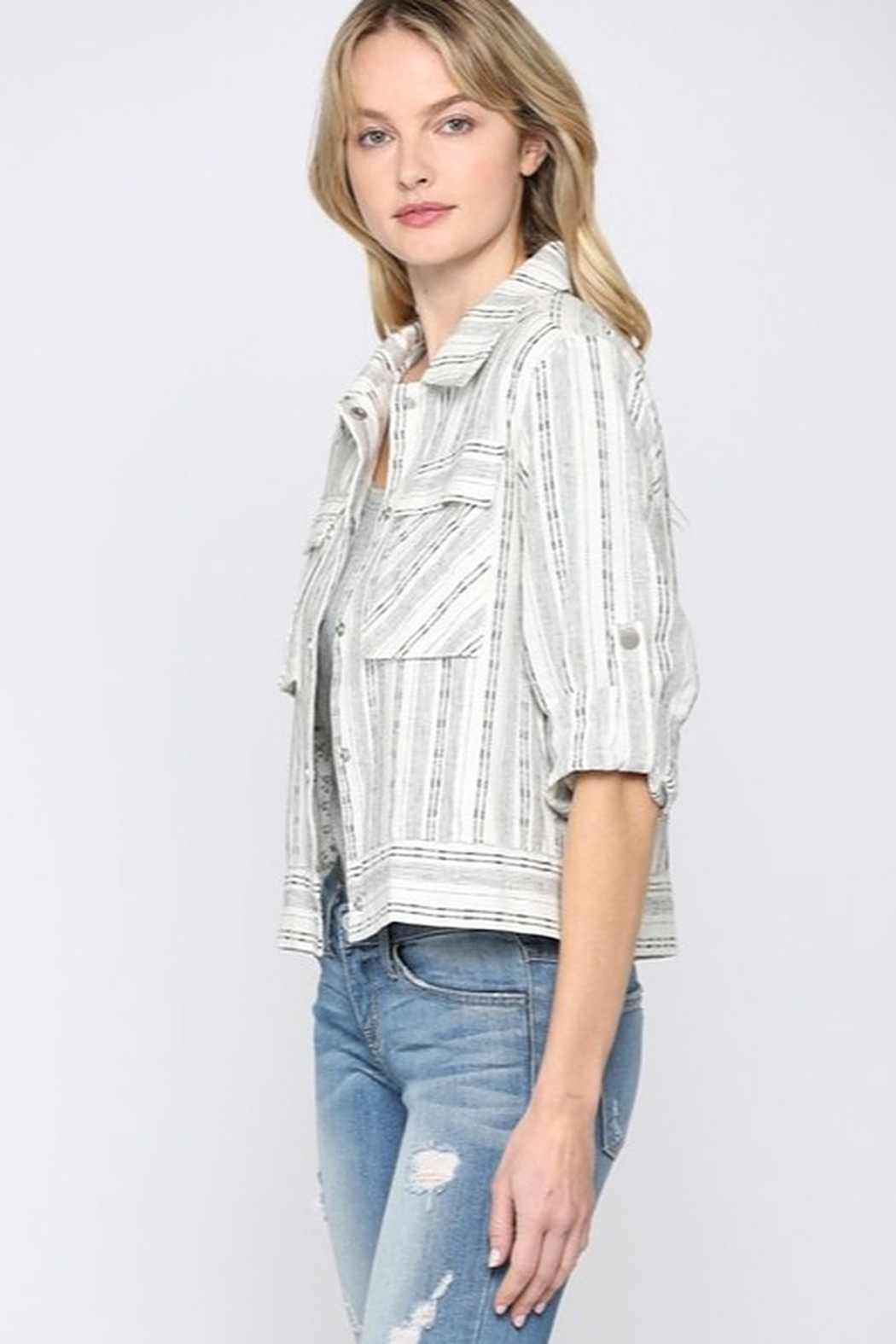 Fate Cropped Linen Jacket - Side Cropped Image
