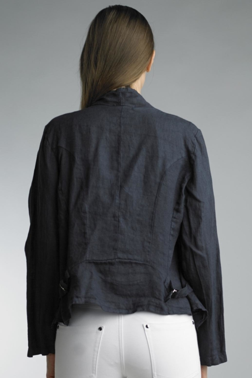 Tempo Paris Cropped Linen Jacket - Front Full Image