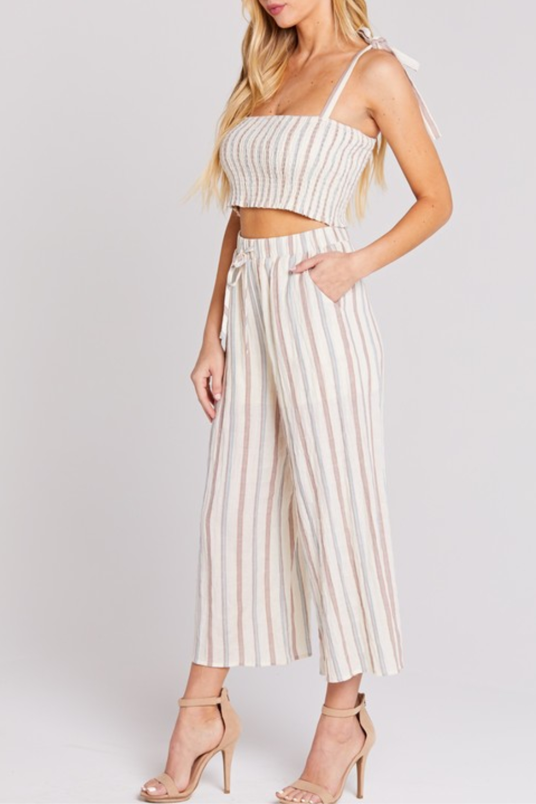 blue blush Cropped Linen Pant - Front Full Image