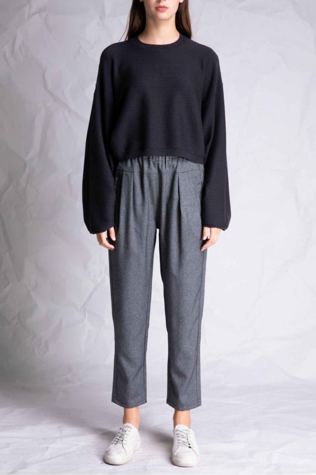 Grade and Gather Cropped Long sleeve sweater - Main Image