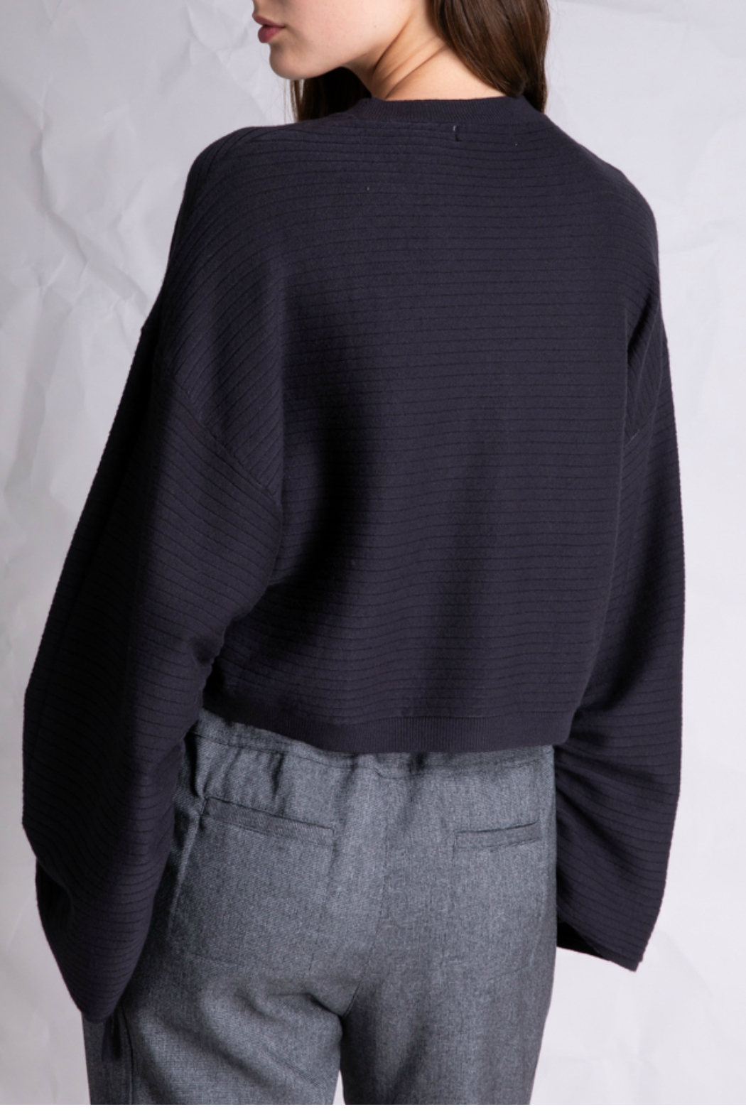 Grade and Gather Cropped Long sleeve sweater - Front Full Image
