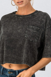 Double Zero Cropped Mineral Wash Tee - Product Mini Image