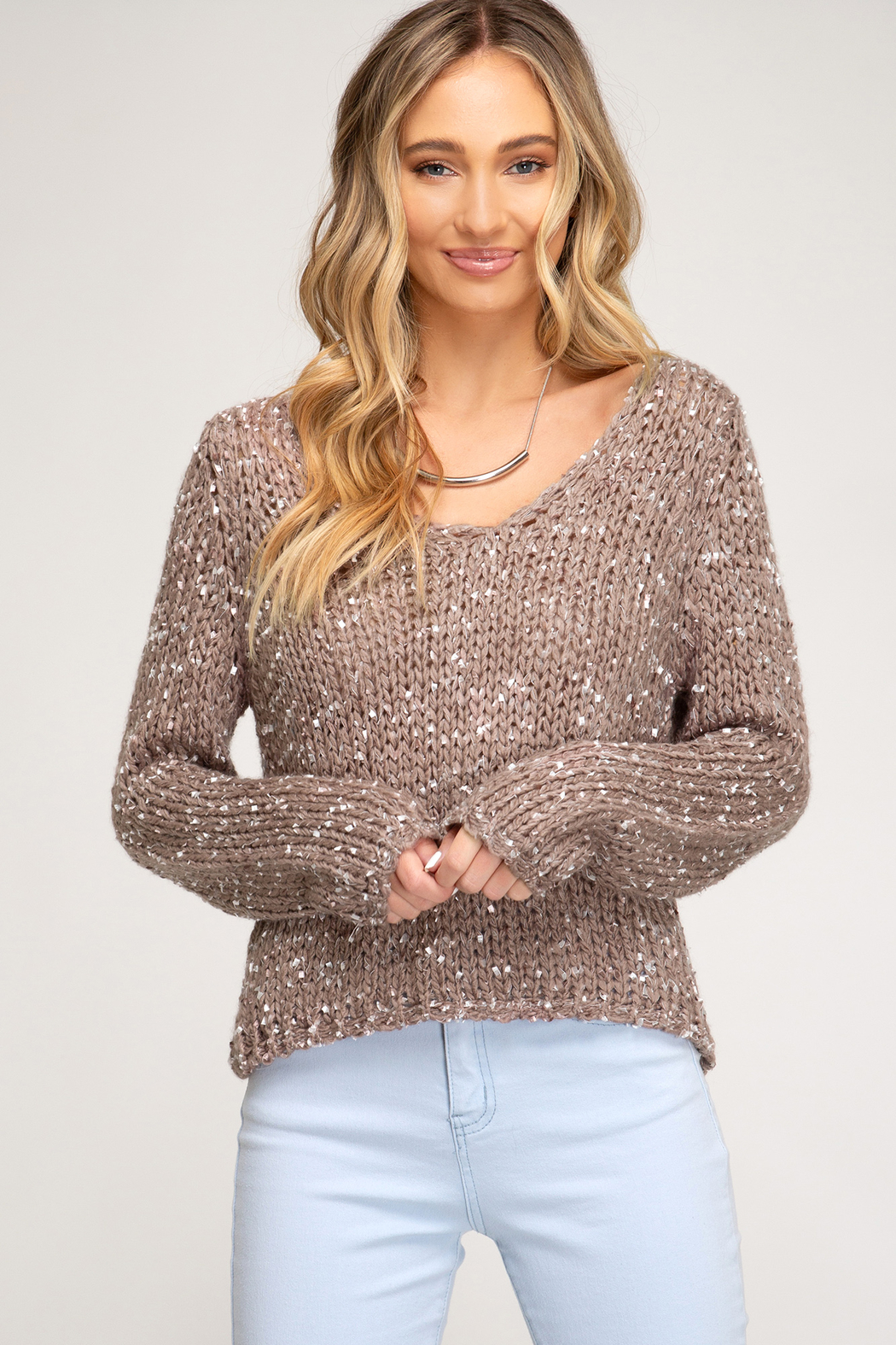 She + Sky Cropped Mix Yarn Sweater - Front Cropped Image