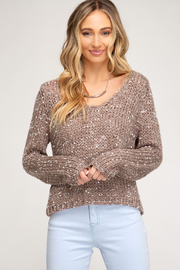 She + Sky Cropped Mix Yarn Sweater - Front cropped