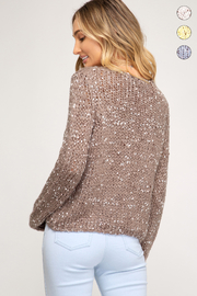 She + Sky Cropped Mix Yarn Sweater - Front full body