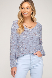 She + Sky Cropped Mix Yarn Sweater - Product Mini Image