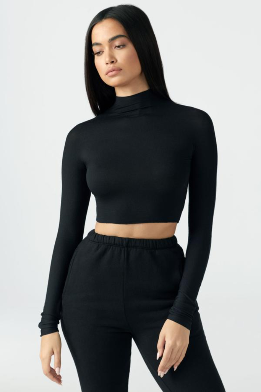 Joah Brown Cropped Mock Neck Long Sleeve - Front Cropped Image