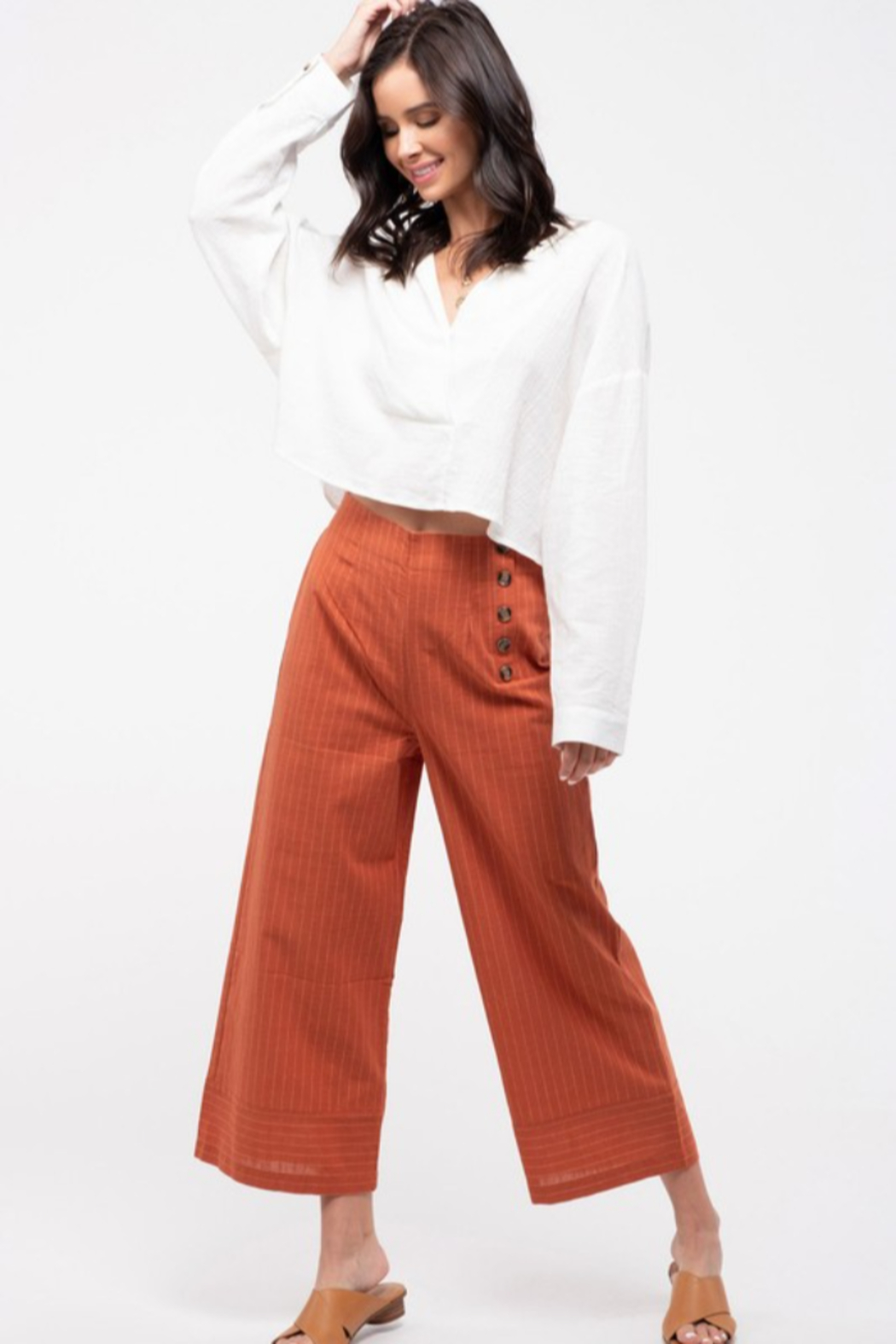 blu Pepper  Cropped Pinstripe Wide-Leg Pant - Front Cropped Image