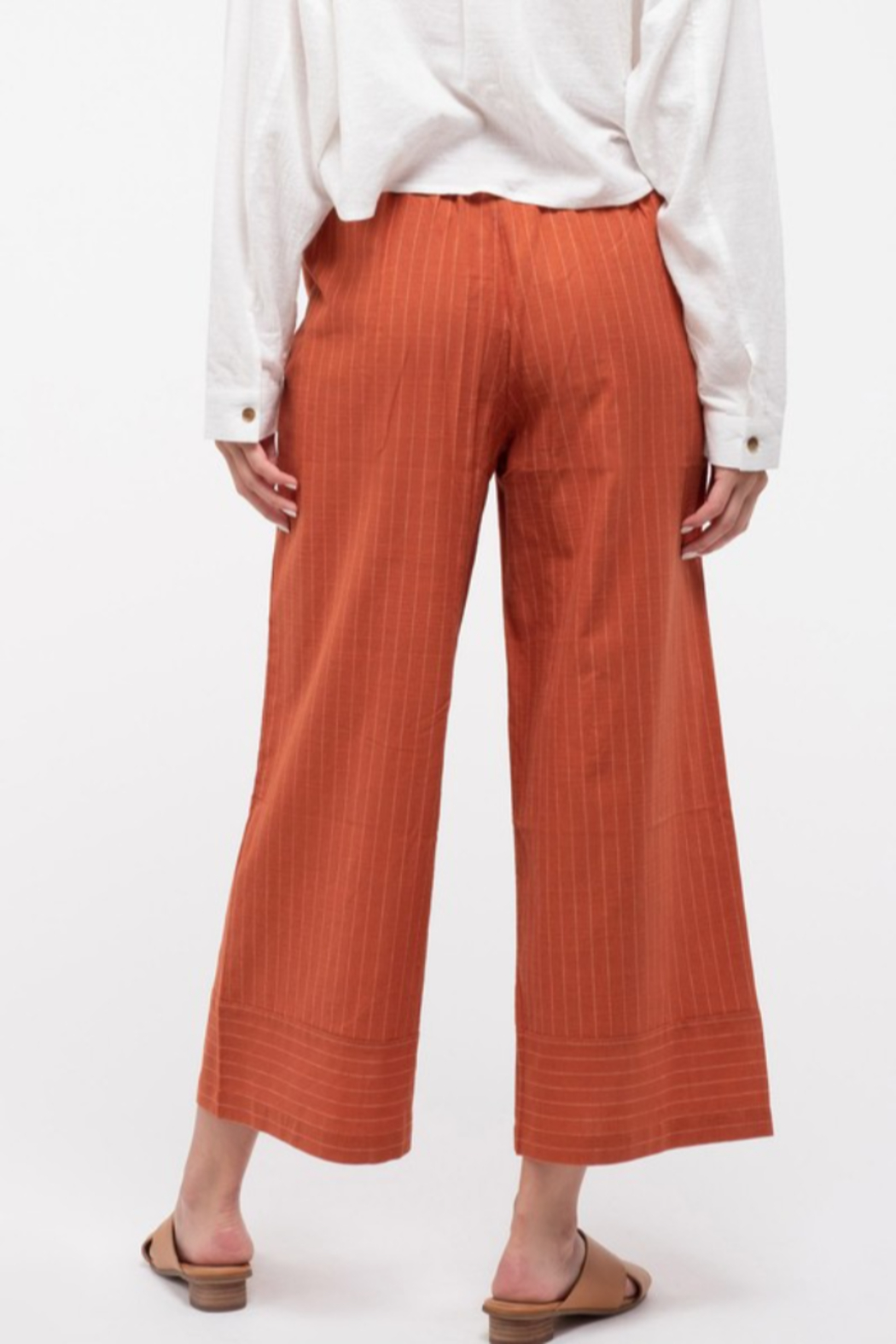 blu Pepper  Cropped Pinstripe Wide-Leg Pant - Side Cropped Image