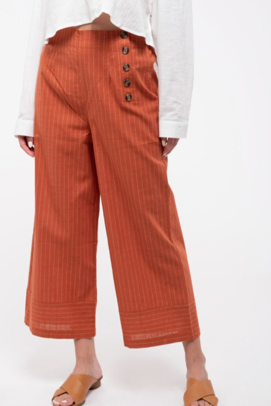 blu Pepper  Cropped Pinstripe Wide-Leg Pant - Front Full Image