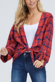 White Birch  Cropped Plaid Cardi - Front cropped