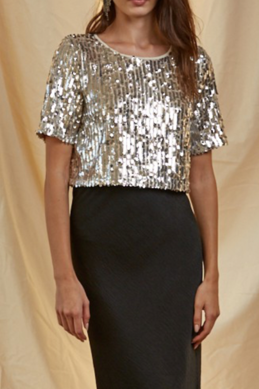 By Together  Cropped Sequins Tee - Front Full Image