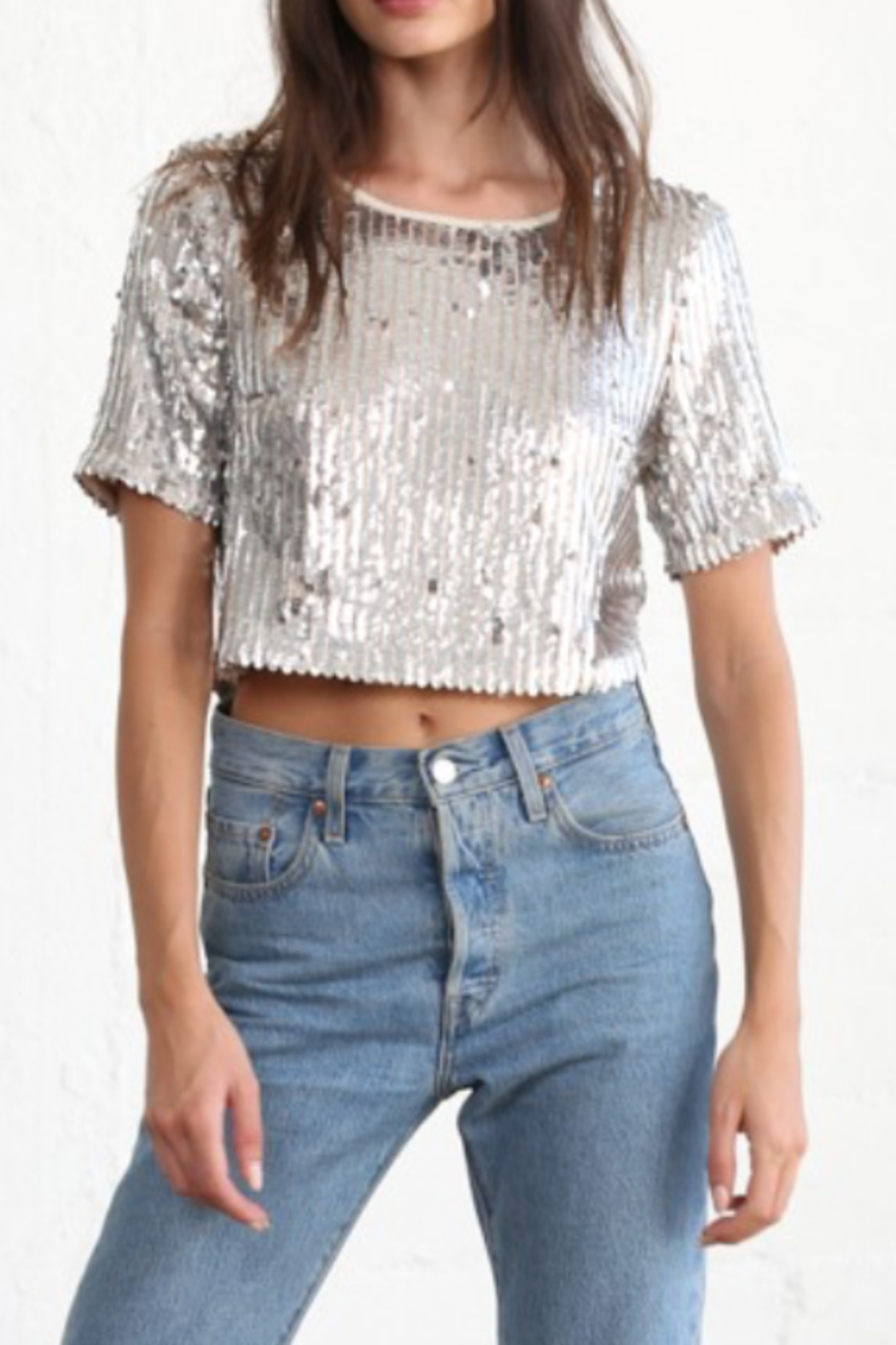 By Together  Cropped Sequins Tee - Main Image