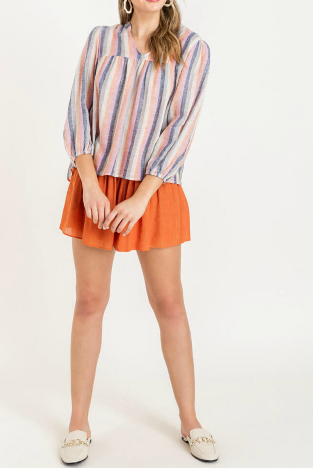 Lush  Cropped sleeve blouse - Front Cropped Image
