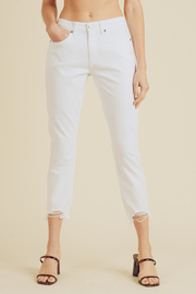 Just USA cropped straight leg denim with distressed hem - Product Mini Image