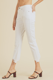 Just USA cropped straight leg denim with distressed hem - Side cropped