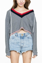 En Creme Cropped Striped Hoodie - Product Mini Image
