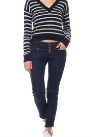 Olivaceous Cropped Striped Sweater - Product Mini Image