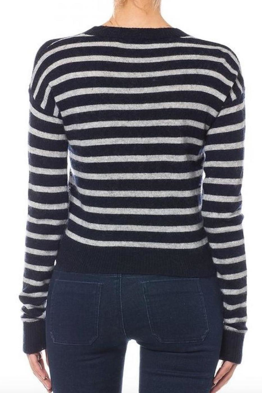Olivaceous Cropped Striped Sweater - Front Full Image