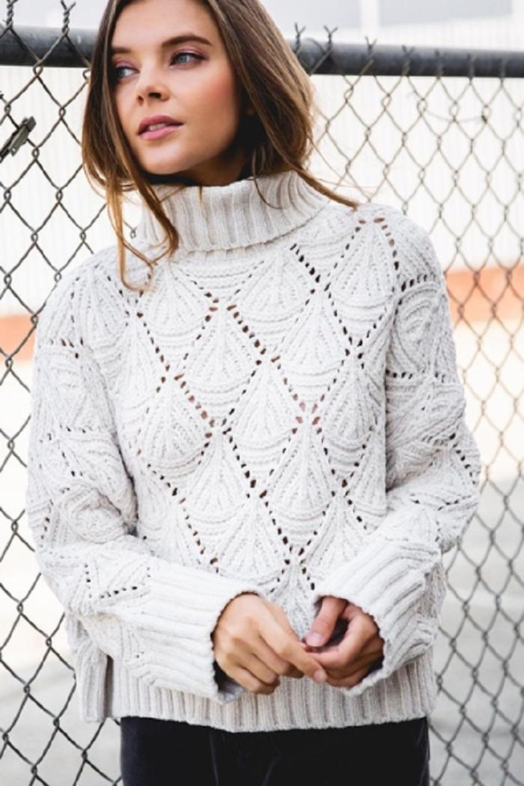 POL Cropped Turtleneck Sweater - Front Cropped Image