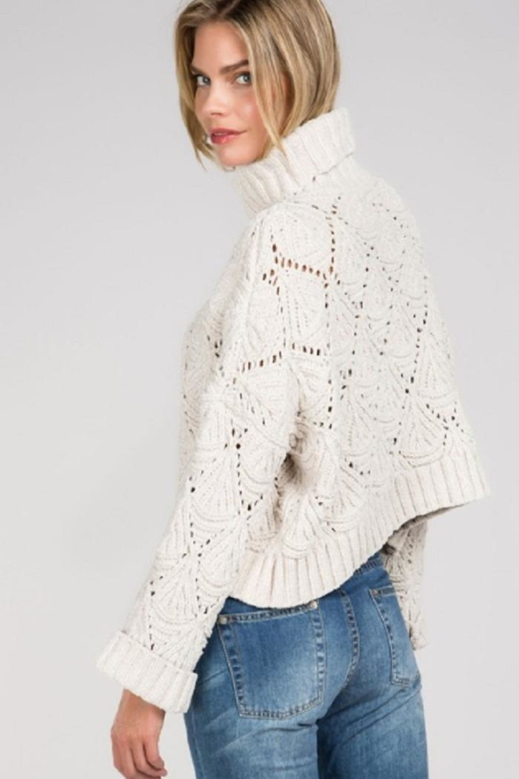 POL Cropped Turtleneck Sweater - Front Full Image