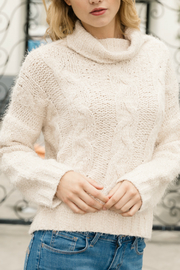 Mystree Cropped turtleneck with cable knit detail - Product Mini Image